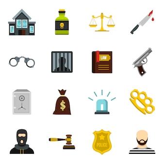 Conjunto de ícones de crime e punição