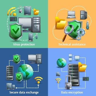 Conjunto de ícones de criptografia e segurança de dados