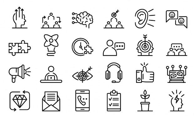 Conjunto de ícones de crm, estilo de estrutura de tópicos