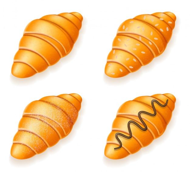 Conjunto de ícones de croissants frescos crocantes com chocolate de sementes de gergelim e ilustração vetorial de açúcar em pó
