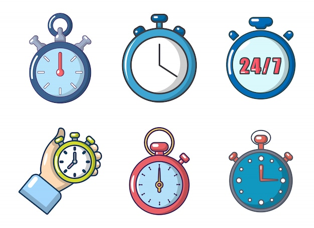 Conjunto de ícones de cronômetro. conjunto de desenhos animados de ícones de vetor de cronômetro conjunto isolado