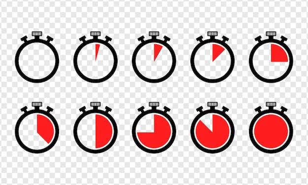 Conjunto de ícones de cronômetros isolados de vetor