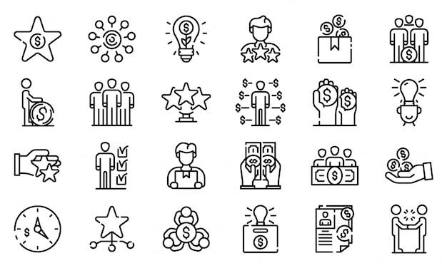 Conjunto de ícones de crowdfunding, estilo de estrutura de tópicos