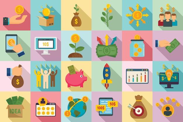 Conjunto de ícones de crowdfunding