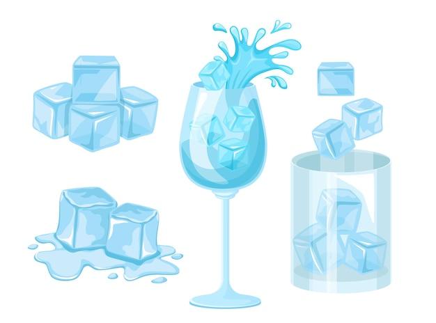 Conjunto de ícones de cubos de gelo, blocos de gelo de cristal, isolados no fundo branco. vidro azul, peças geladas para resfriamento de bebidas