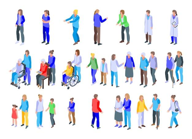 Conjunto de ícones de cuidador, estilo isométrico