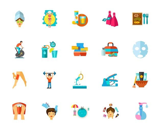 Conjunto de ícones de cuidados com o corpo