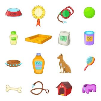 Conjunto de ícones de cuidados de cão