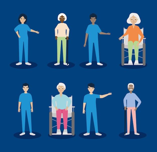 Conjunto de ícones de cuidados de enfermagem para idosos