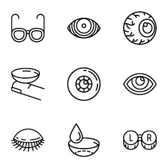 Conjunto de ícones de cuidados de olho, estilo de estrutura de tópicos