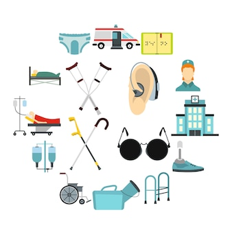 Conjunto de ícones de cuidados de pessoas com deficiência, estilo simples