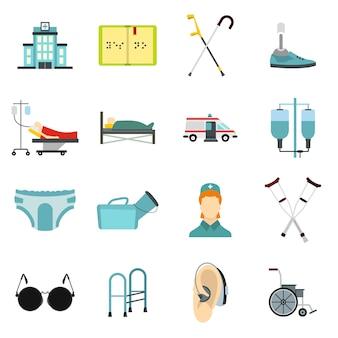 Conjunto de ícones de cuidados de pessoas com deficiência