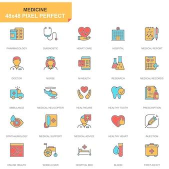 Conjunto de ícones de cuidados de saúde e médicos linha plana