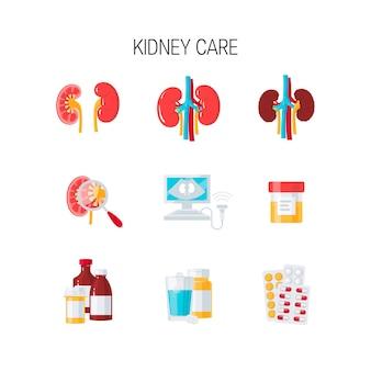 Conjunto de ícones de cuidados renais em estilo simples