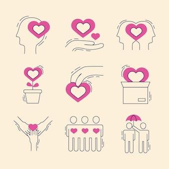 Conjunto de ícones de cuidados