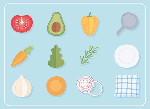 Conjunto de ícones de culinária