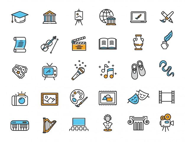 Conjunto de ícones de cultura linear ícones da arte