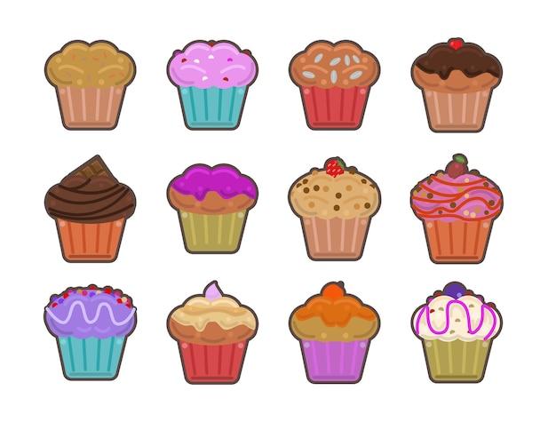 Conjunto de ícones de cupcakes decorados ícone de conjunto isolado de cupcakes decorados com vetor