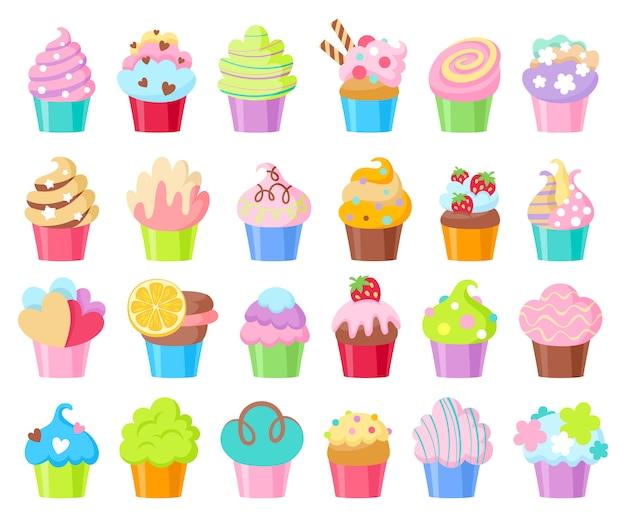 Conjunto de ícones de cupcakes.
