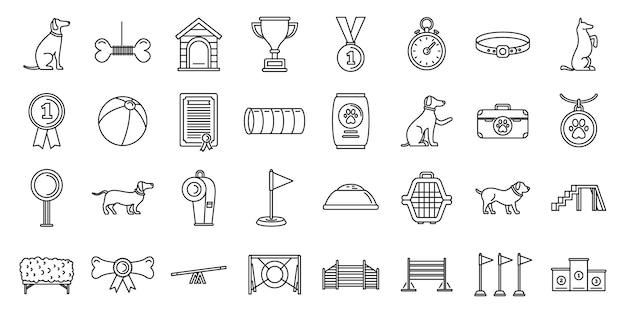Conjunto de ícones de curso de treinamento de cães