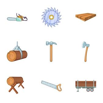 Conjunto de ícones de cutelo, estilo cartoon