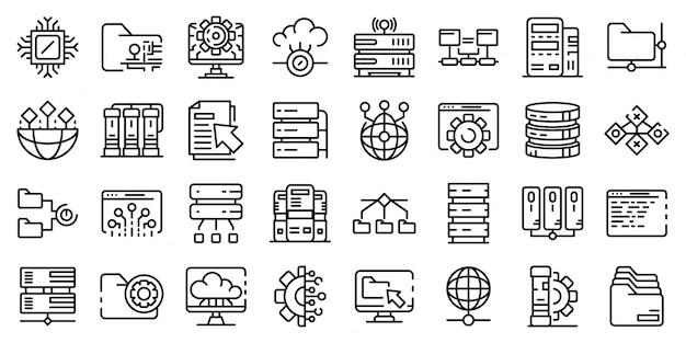 Conjunto de ícones de data center, estilo de estrutura de tópicos