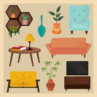 Conjunto de ícones de decoração de interiores