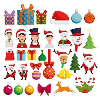 Conjunto de ícones de decoração de natal