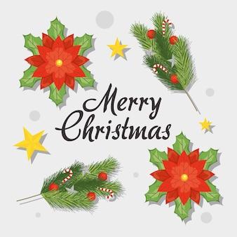 Conjunto de ícones de decorações de natal feliz sobre fundo branco