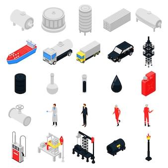Conjunto de ícones de derrick, estilo isométrico