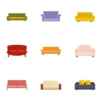 Conjunto de ícones de descanso de sofá, estilo cartoon