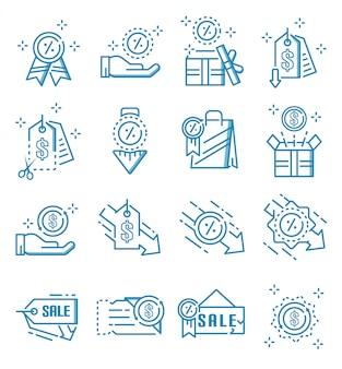 Conjunto de ícones de desconto com estilo de estrutura de tópicos