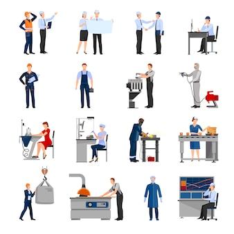 Conjunto de ícones de desenhado em trabalhadores de fábrica diferentes estilo plano
