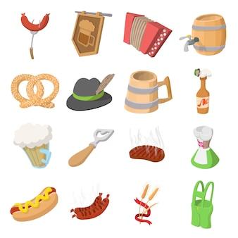 Conjunto de ícones de desenho animado festa oktoberfest isolado