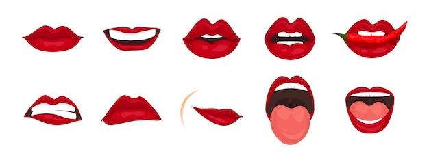 Conjunto de ícones de desenho animado isolado expressões de boca bonita, gestos faciais, lábios