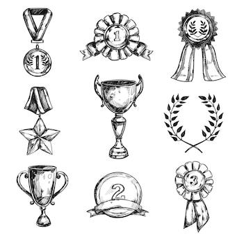 Conjunto de ícones de desenho de medalha de esboço