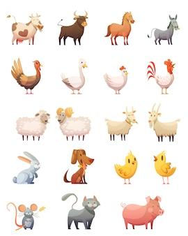 Conjunto de ícones de desenhos animados de animais de fazenda de galinha gobbler vaca cavalo ram gato coelho isolado ilustração vetorial