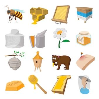 Conjunto de ícones de desenhos animados de apiário isolado