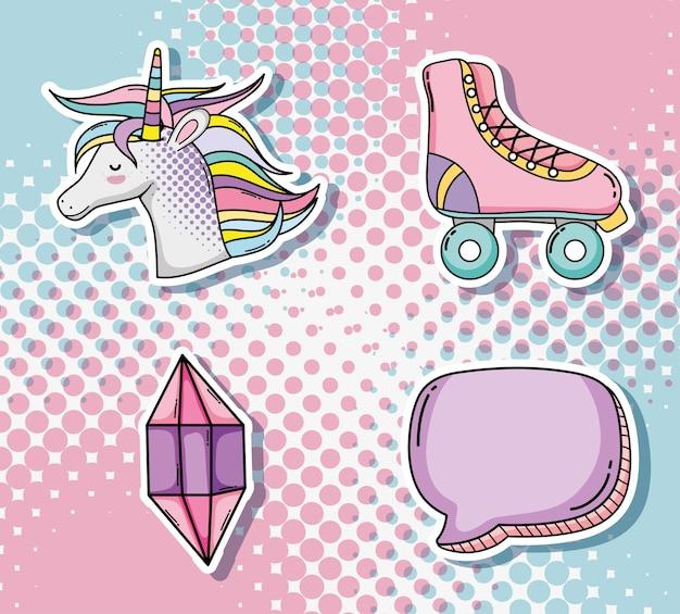 Conjunto de ícones de desenhos animados de arte pop
