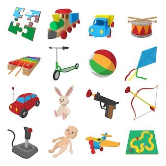 Conjunto de ícones de desenhos animados de brinquedos isolado