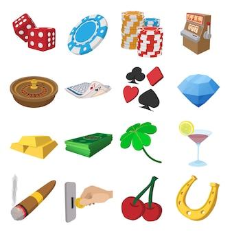 Conjunto de ícones de desenhos animados de cassino isolado vector