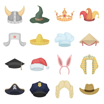 Conjunto de ícones de desenhos animados de chapéu