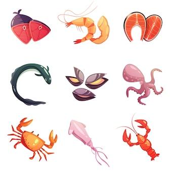 Conjunto de ícones de desenhos animados de comida do mar