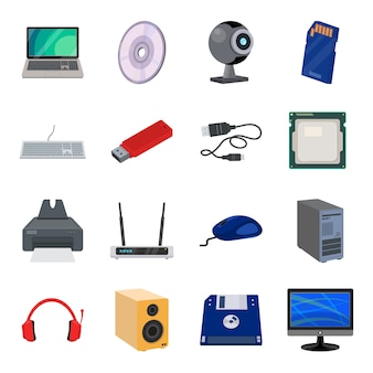 Conjunto de ícones de desenhos animados de computador, hardware de computador.