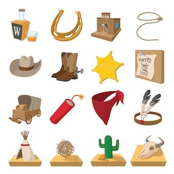 Conjunto de ícones de desenhos animados de cowboy do oeste selvagem isolado