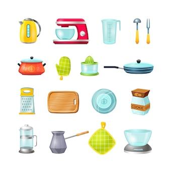 Conjunto de ícones de desenhos animados de cozinha, cozinha cozinha.