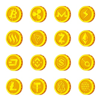 Conjunto de ícones de desenhos animados de criptomoeda, bitcoin de criptografia.
