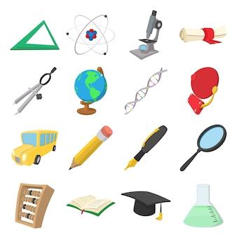 Conjunto de ícones de desenhos animados de educação isolado