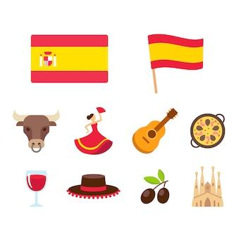Conjunto de ícones de desenhos animados de espanha