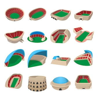 Conjunto de ícones de desenhos animados de estádio isolado